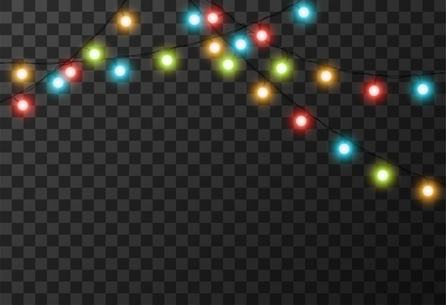 Christmas lights transparent background