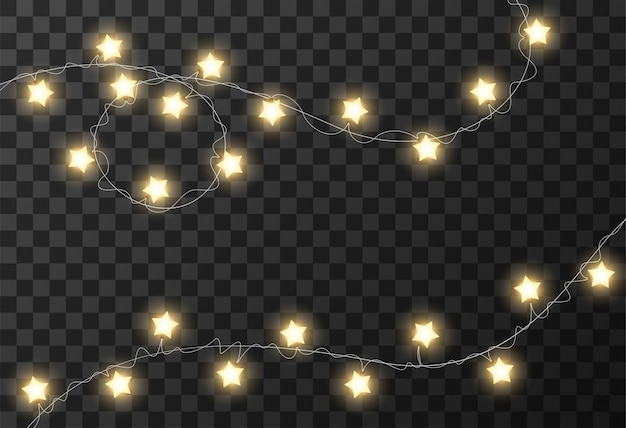 Christmas lights transparent background