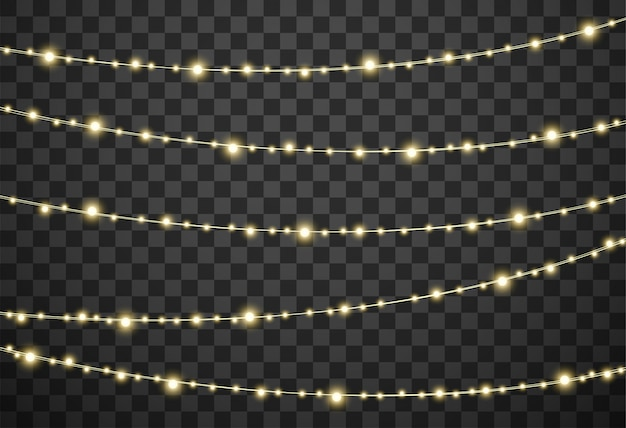 Christmas lights on transparent background