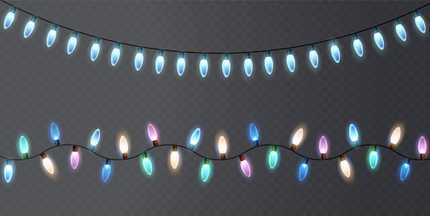Christmas lights on a transparent background.