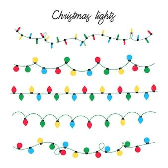 クリスマスライトベクトル。クリスマスの飾り用のカラフルな電球。