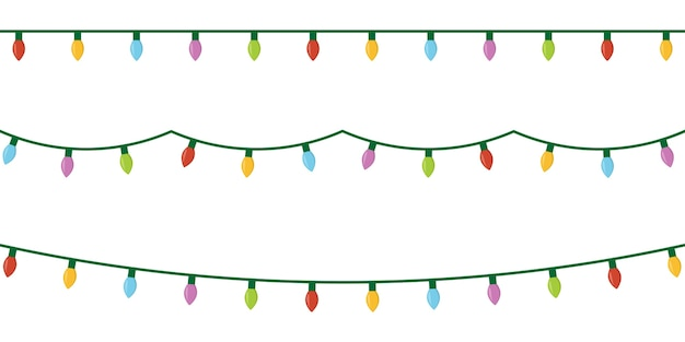 Christmas lights on white background.