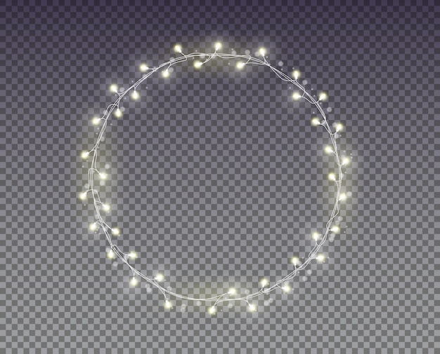 Christmas lights. white garland
