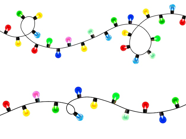 Christmas lights on a white transparent background. set of decorative shining garlands. christmas design element. isolated