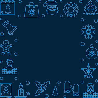 Рождественская линия синяя квадратная рамка - фон