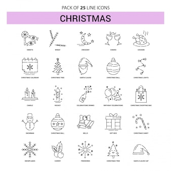 Christmas line icon set - 25 dashed outline style