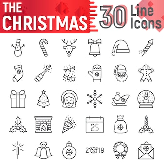 Christmas line icon set, new year symbols collection