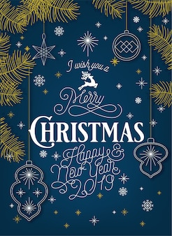 Christmas linear background with elements