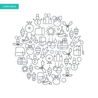 Рождественский набор иконок с традиционными новогодними элементами в круглой форме