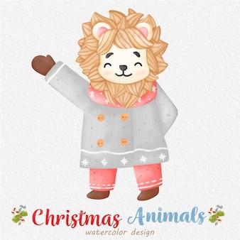 クリスマスライオンの水彩イラスト、紙の背景。デザイン、プリント、ファブリック、または背景用。クリスマス要素ベクトル。