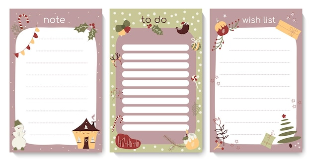 Christmas to do list template with cute festive elements daily winter check list planner shedule