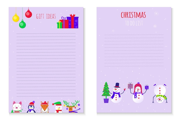Christmas to do list with snowmans