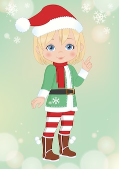 Christmas little girl illustration