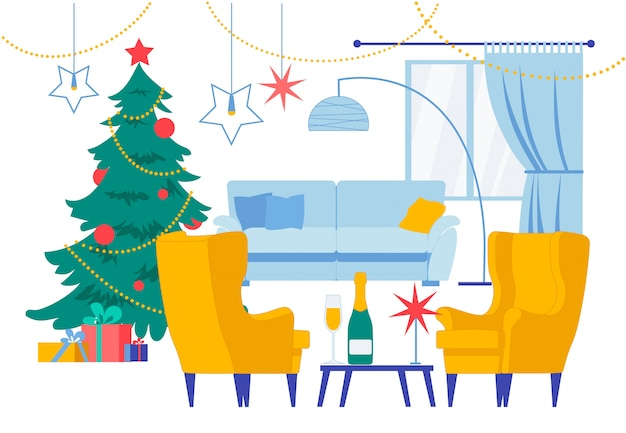 クリスマスリビングルームホームインテリアイラスト