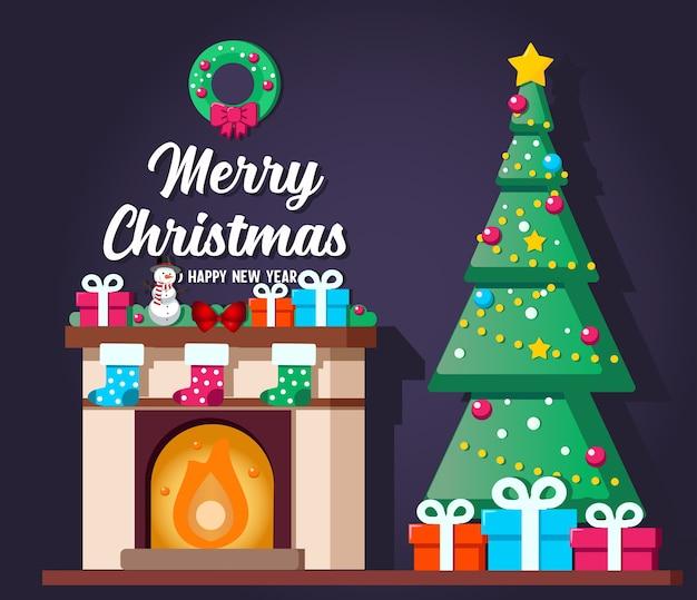 クリスマスツリーとギフトボックスとクリスマスのリビングルームのインテリア。イラスト