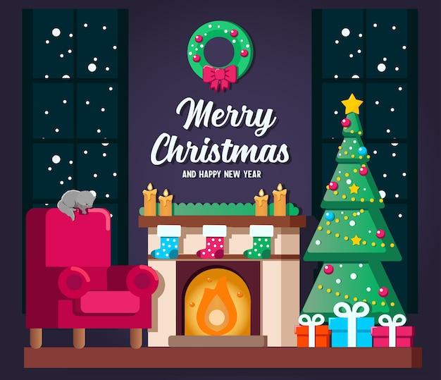 クリスマスツリー、猫、ギフトボックスとクリスマスのリビングルームのインテリア。イラスト