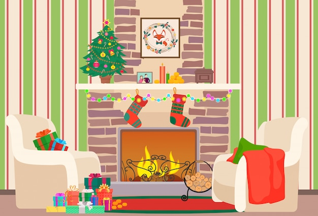 Christmas living room interior with fireplace