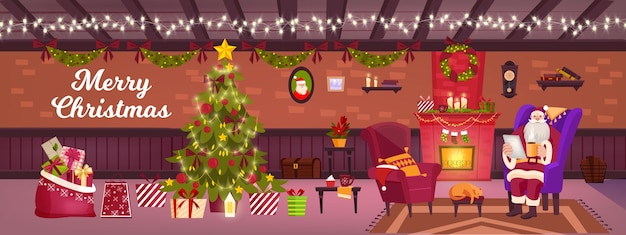 Christmas living room vector interior with santa claus, decorated x-mas tree, gift boxes, chimney