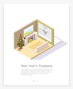 Christmas living room with fireplace and christmas tree in the isometric.