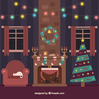 벽난로 안에 산타 클로스와 크리스마스 거실