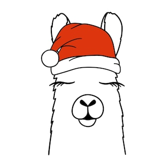 Christmas llama or alpaca in santa hat llama portrait vector illustration