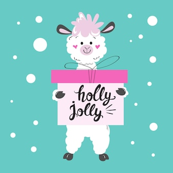 Christmas llama holds boxes with a gift and the inscription holly jolly. new year card