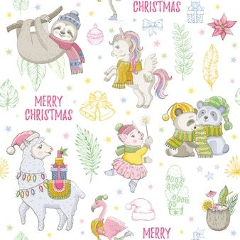 Christmas llama, sloth, unicorn panda, flamingo seamless pattern. doodle cute animals, christmas sketch