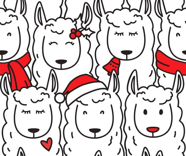 Christmas llamas seamless pattern