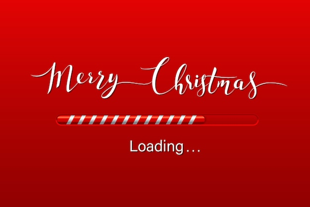 Christmas loading bar on winter background.