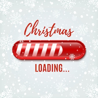 Christmas loading bar on winter background