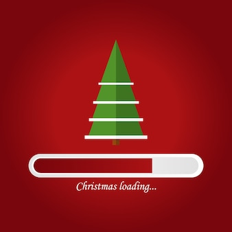Christmas loading card design with tree and bar