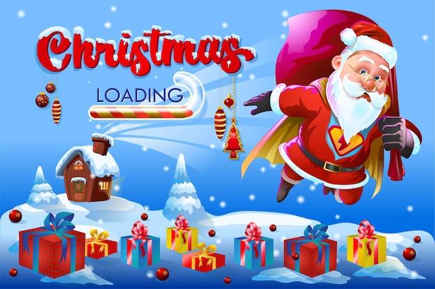 Christmas loading greetings with jumping santa