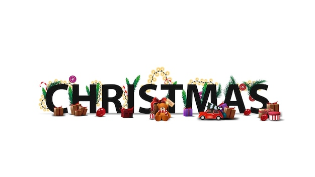 Christmas logo, sign, symbol. 3d title decorated with presents, christmas tree branches, candy and garland isolated