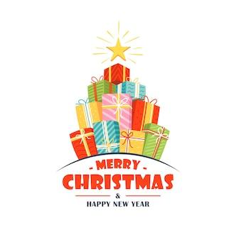 Рождественский логотип с плоскими подарочными коробками, изолированными на белом фоне. рождество в мультяшном стиле.