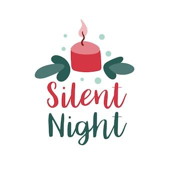 Christmas logotype or insignia cute cartoon candle silent night