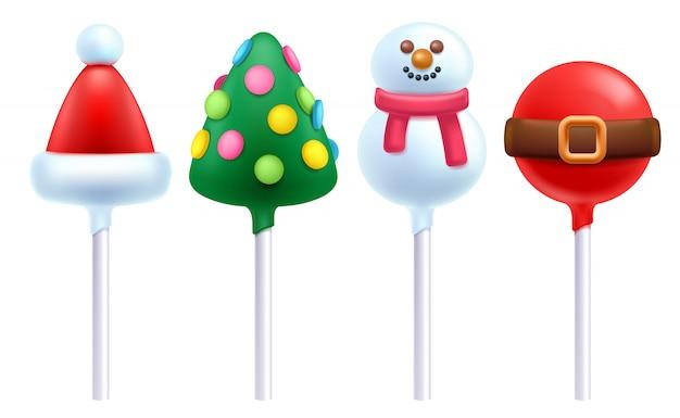 Christmas lollipops cake pops set  illustration.