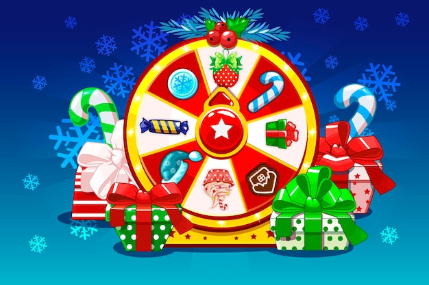 Christmas lucky roulette spinning fortune wheel holiday icons and gifts game assets ui active