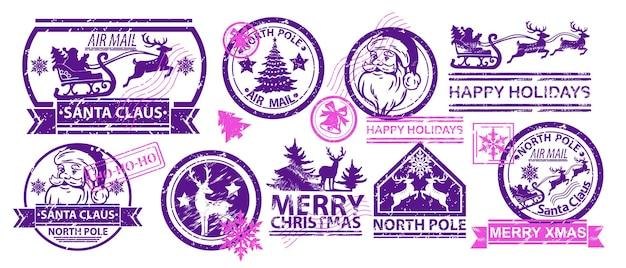 Рождественские почтовые марки набор векторных санта-клауса почтовые письмо знак северный полюс старинный дизайн этикетки