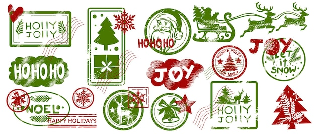 Christmas mail stamp set vector santa claus postmark sign kit winter holiday vintage letter label
