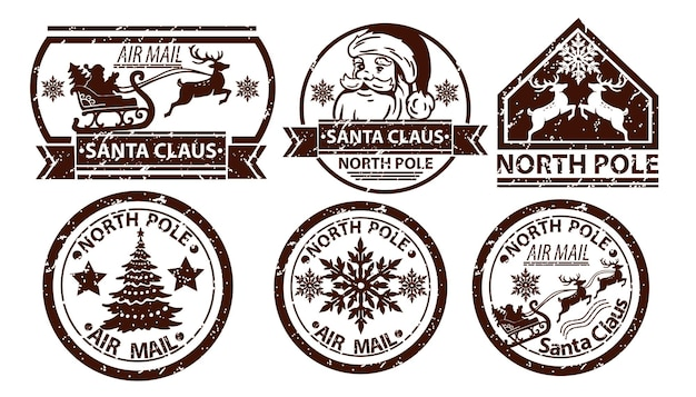 Christmas mail stamp vector santa claus postage north pole vintage postal sign isolated on white