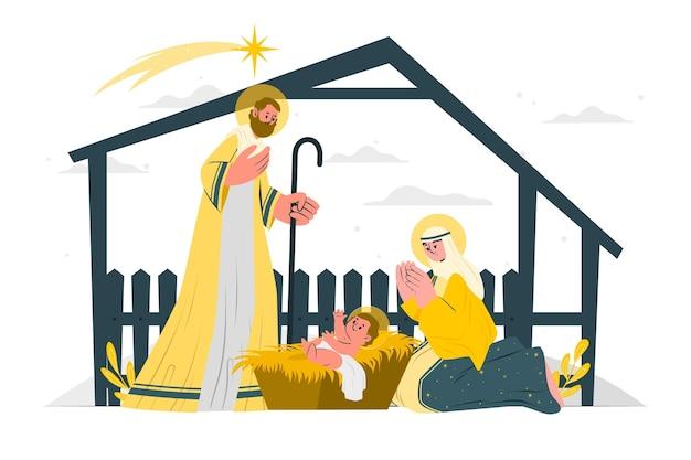 クリスマス飼い葉桶の概念図