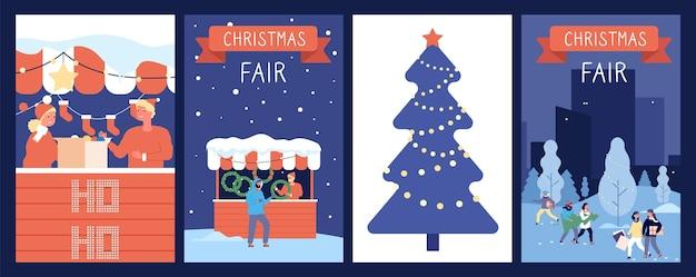 Карточки рождественского базара. праздничный плакат, новогодняя или рождественская ярмарка, праздничные украшения. счастливые люди шаржа и красные счетчики, иллюстрация вектора зимнего времени. ярмарка праздничных новогодних и рождественских ярмарок