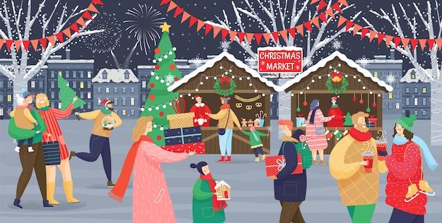 Christmas market celebration of winter holidays