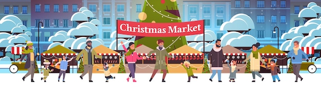 Christmas market or holiday outdoor fair with decorated fir tree people walking near stalls merry xmas new year winter holidays celebration concept modern cityscape background