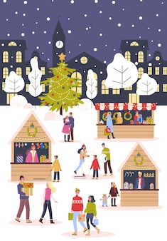 クリスマスマーケットのイラスト。お祝い料理と休日の装飾。伝統的な装飾が施された大きなクリスマスツリー。クリスマスプレゼントを購入する人、外で楽しむ。