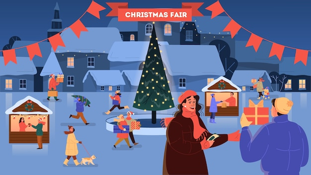 Christmas market  illustration. festive food and holiday decoration. big christmas tree with traditional decoration. people buying christmas presents, having fun outside.