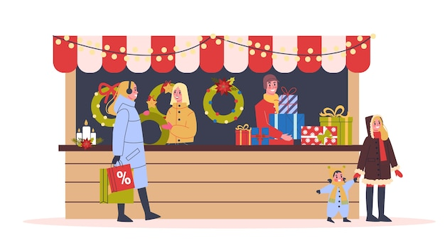 Christmas market  illustration. festive food and holiday