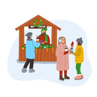 Рождественский базар или ярмарка. зимняя сцена с людьми, говорящими и пьющими горячее какао. с рождеством христовым. иллюстрация, изолированные на белом фоне.