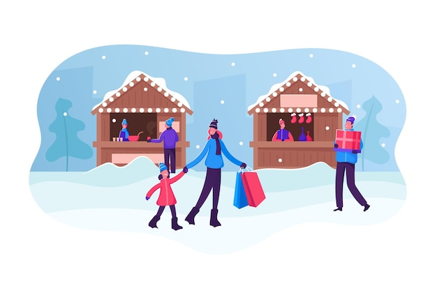 クリスマスマーケットまたは冬の野外フェア。屋台やキオスクで歩いたり、贈り物や温かい飲み物を買ったりする人々。漫画フラットイラスト