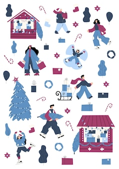 クリスマスマーケットクリスマスオブジェクトと人々のキャラクターがアイススケートを買い物したり、ギフトを運んだりするセット